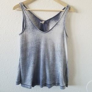 Free People Waffle Knit Tank Top Blue Size S